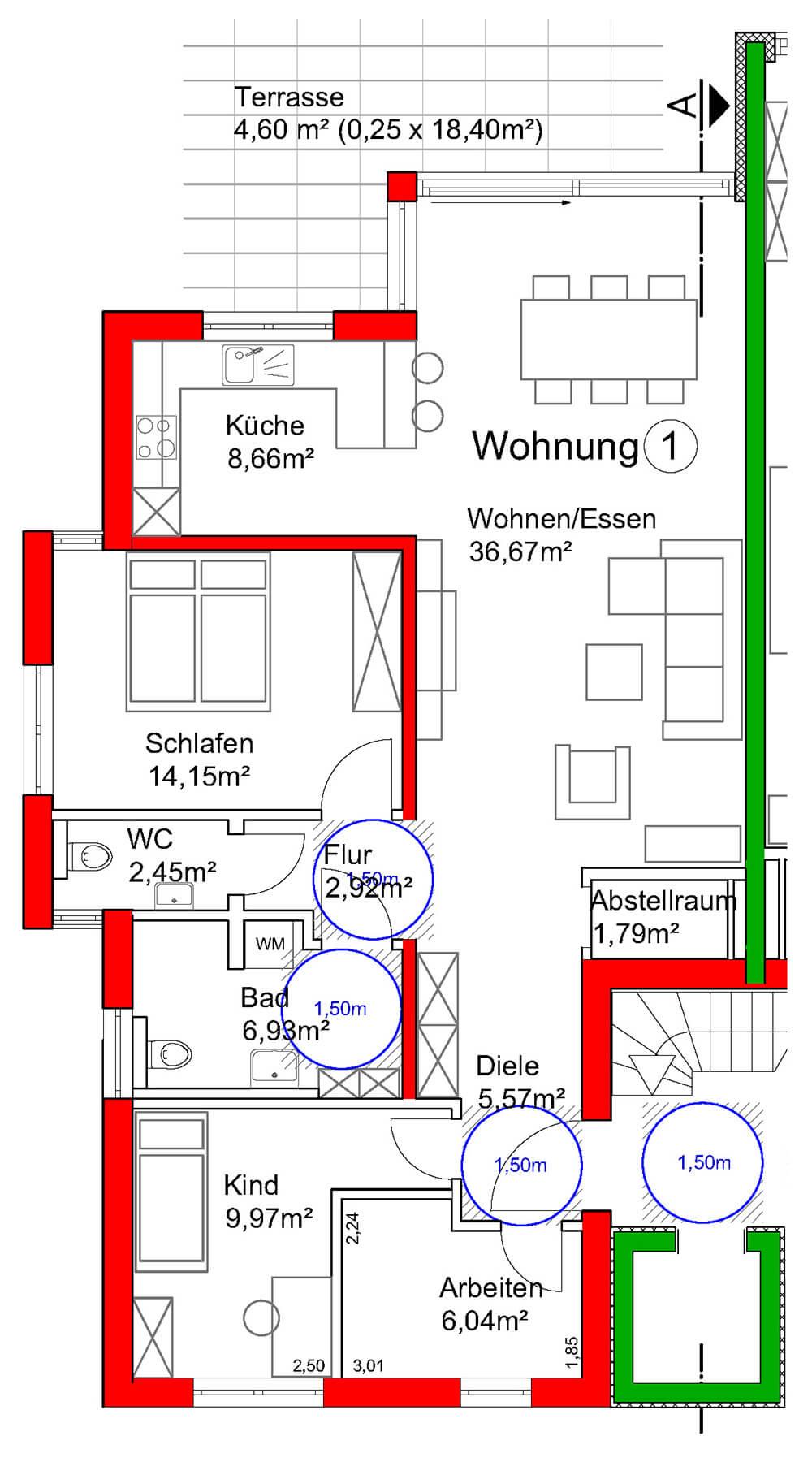 Grundriss Wohnung 1 - Neubau Hermann-Löns-Weg 1