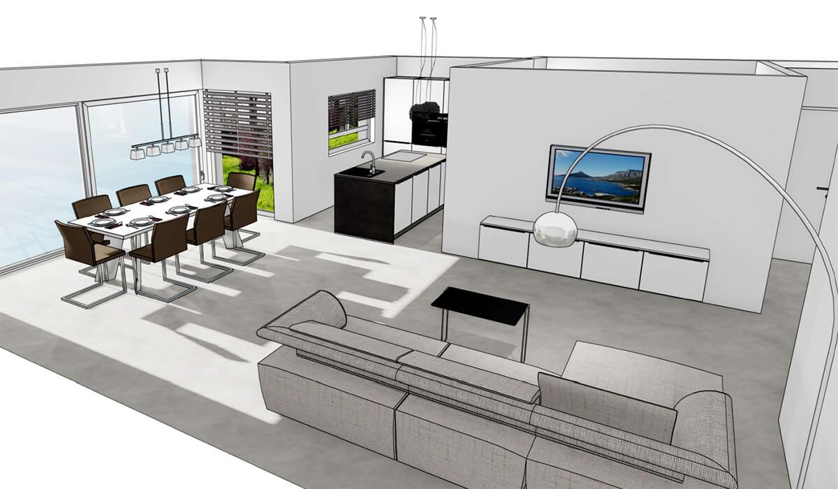 Visualisierung Wohnung 2 - Neubau Hermann-Löns-Weg 1