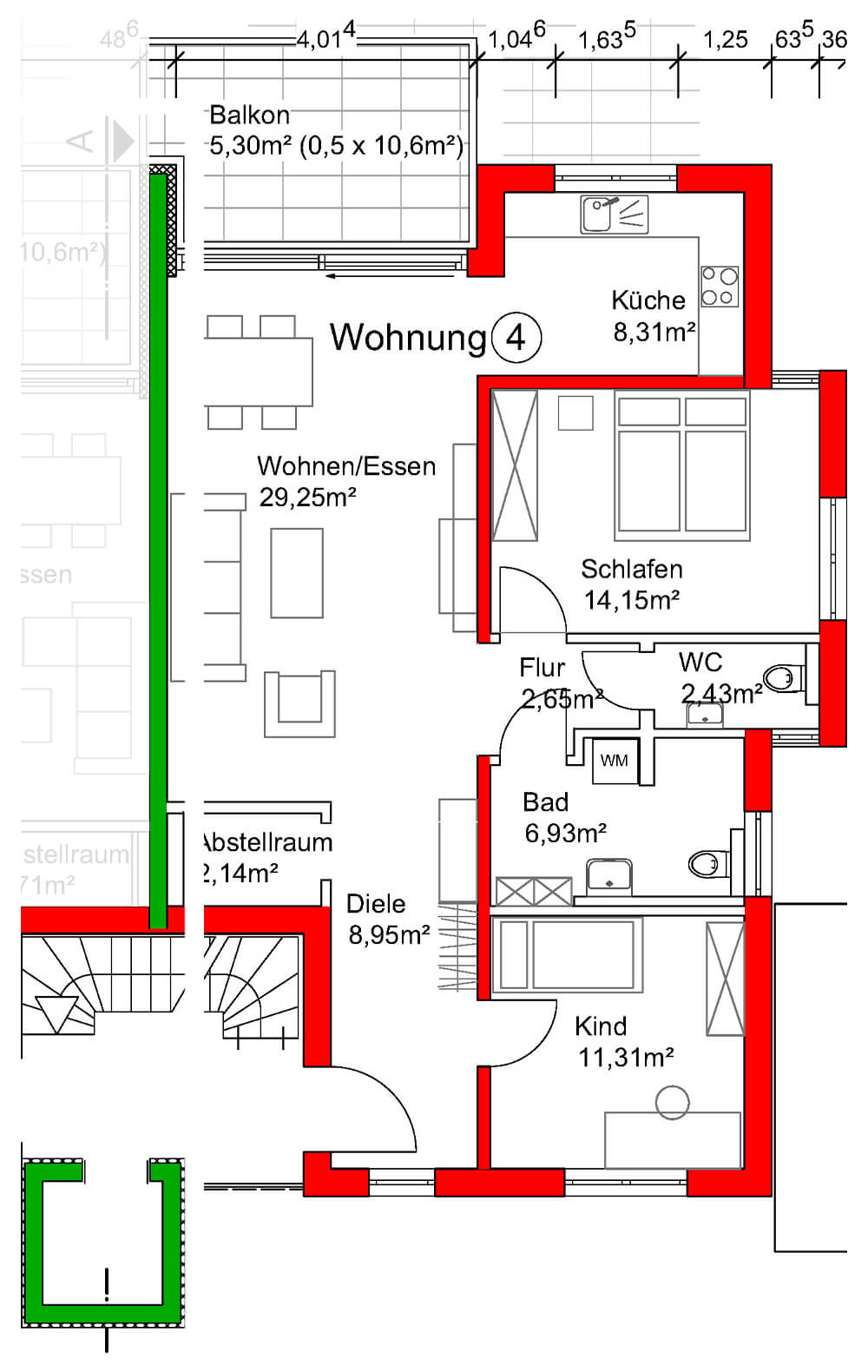 Grundriss Wohnung 4 - Neubau Hermann-Löns-Weg 1