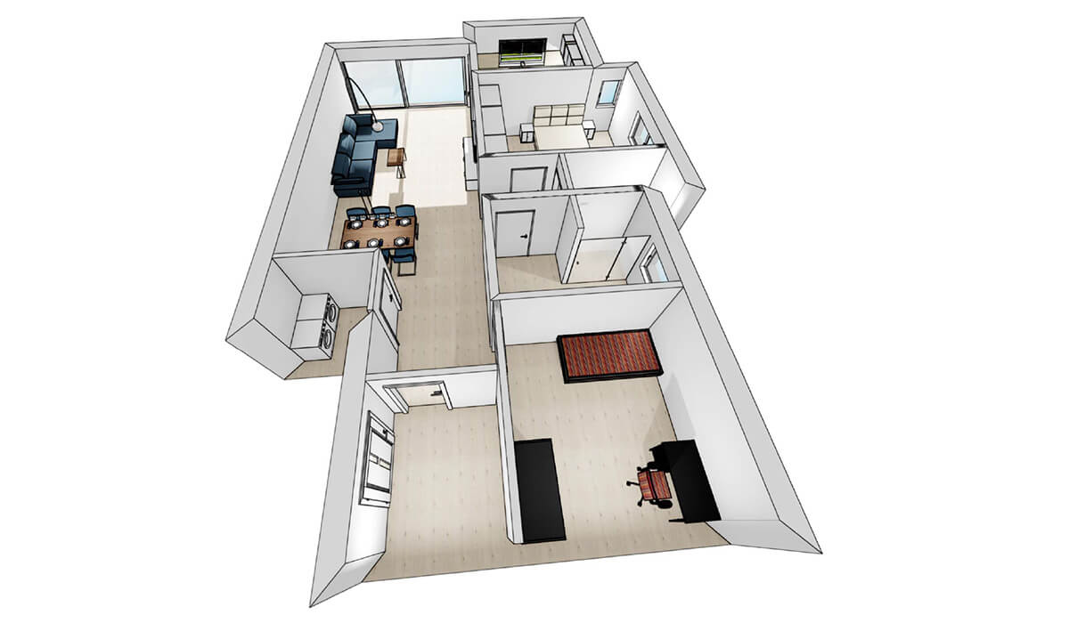Visualisierung Wohnung 4 - Neubau Hermann-Löns-Weg 1
